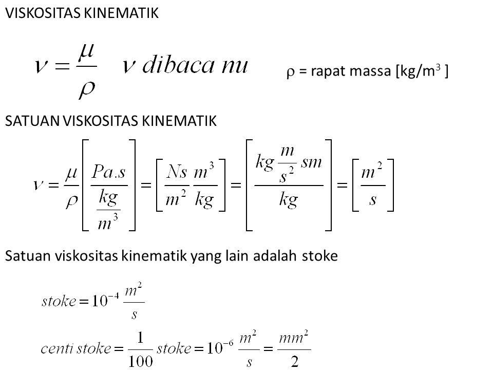 VISKOSITAS KINEMATIK  = rapat massa [kg/m3 ] SATUAN VISKOSITAS KINEMATIK.
